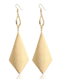 Fashion Gold Color Rhombus Shape Decorated Pure Color Earrings