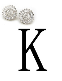 Fashion Silver Color Letter K Shape Decorated Earrings