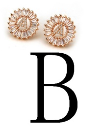 Fashion Rose Gold Letter B Shape Decorated Earrings