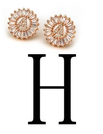 Fashion Rose Gold Letter H Shape Decorated Earrings