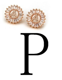 Fashion Rose Gold Letter P Shape Decorated Earrings