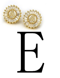 Fashion Gold Color Letter E Shape Decorated Earrings