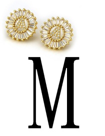 Fashion Gold Color Letter M Shape Decorated Earrings