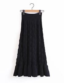 Fashion Black Pure Color Decorated Dress