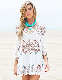 Sexy White Hollow Out Design Long Sleeves Dress