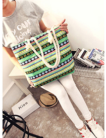 Fashion Green Fower Pattern Decorated Bag
