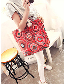 Fashion Red Flower Pattern Decorated Bag