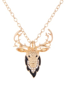 Fashion Gold Color Deer Shape Decorated Necklace