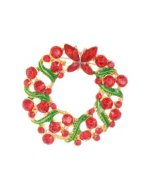 Fashion Red+green Flower Shape Decorated Brooch