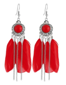 Fashion Red Feather Decorated Tassel Earrings