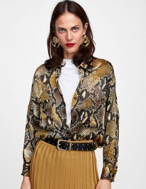 Fashion Brown Snake Skin Pattern Decorated Long Sleeves Shirt
