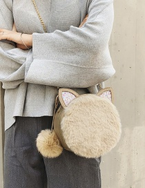 Fashion Khaki Cat Ear Shape Decorated Shoulder Bag