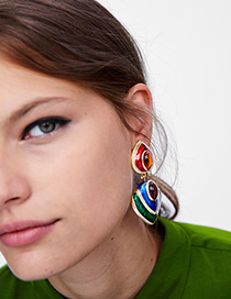 Fashion Multi-color Heart Shape Decorated Earrings