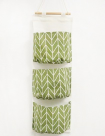 Fashion Green+white Geometry Pattern Decorated Storage Bag