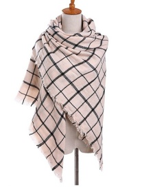 Fashion Pink+black Grid Pattern Decorated Scarf