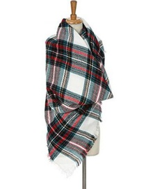 Fashion Multi-color Grid Pattern Decorated Scarf