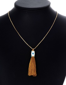 Fashion Light Brown Tassel Decorated Pure Color Necklace
