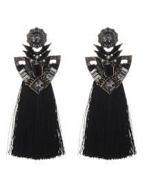 Fashion Black Geometric Shape Decorated Tassel Earrings