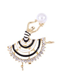 Fashion Black+white Beautiful Girl Shape Design Brooch