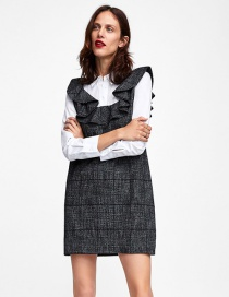 Fashion White+black Grids Pattren Decorated Dress