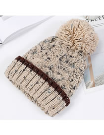 Fashion Beige Fuzzy Ball Decorated Hat
