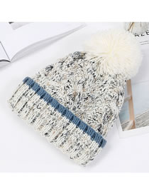Fashion White Fuzzy Ball Decorated Hat