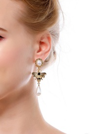 Fashion Gold Color Bee&pearl Decorated Long Earrings
