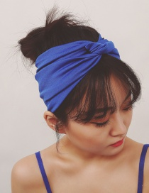Fashion Blue Pure Color Decorated Simple Hair Band