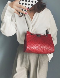Fashion Red Grids Pattern Decorated Bag