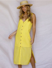 Fashion Yellow Pure Color Decorated V Neckline Dress
