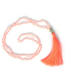 Bohemia Light Orange Buddha&beads Decorated Long Tassel Necklace
