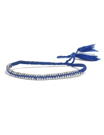 Bohemia Sapphire Blue Tassel Decorated Pure Color Bracelet
