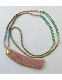 Bohemia Pink Gemstone&tassel Decorated Long Necklace