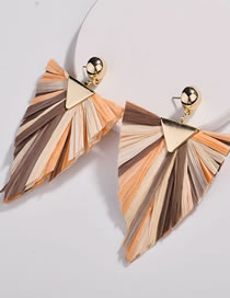 Fashion Orange Triangle Shape Decorated Earrings
