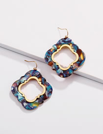 Fashion Blue Flower Shape Decorated Earrings