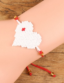 Fashion White+red Heart Shape Decorated Bracelet