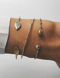 Fashion Gold Color Leaf Shape Decorated Pure Color Opening Bracelet(3pcs)
