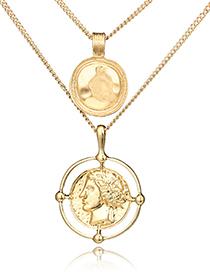 Fashion Gold Color Multi-layer Design Pure Color Necklace