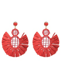 Fashion Red Hollow Out Design Pure Color Earrings