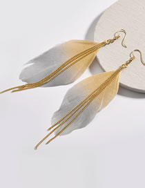 Fashion Yellow+gray Feather Decorated Tassel Earrings