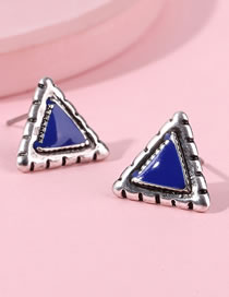 Fashion Blue Triangle Shape Decorated Earrings