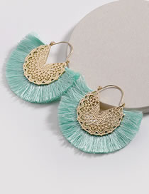 Fashion Green Hollow Out Design Tassel Decorated Earrings