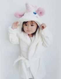 Fashion White Unicorn Shape Design Pajamas(for Child )