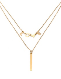 Fashion Gold Color Letter Pattern Decorated Double Layer Necklace