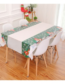 Fashion Green+white Snowman Pattern Decorated Tablecloth