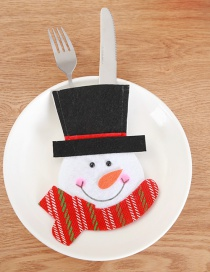 Fashion Multi-color Snowman Pattern Decorated Cutlery Cover