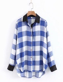 Fashion Blue+white Grids Pattern Decorated Shirt