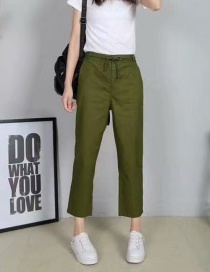 Fashion Green Pure Color Decorated Long Pants