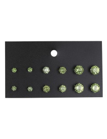 Fashion Green Diamond Decorated Earrings (12 Pcs )