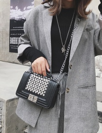 Fashion Silver Color Buckle Decorated Shoulder Bag